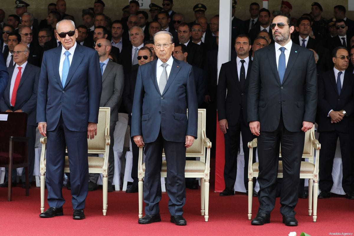 Lebanese President, Michel Aoun (C), Speaker of the Parliament of Lebanon, Nabih Berri (L) and Prime Minister of Lebanon, Saad Hariri (R) attend a ceremony marking the 74th anniversary of the founding of Lebanese Armed Forces at the military academy in Beirut, Lebanon on 1 August 2019. [Presidency of Lebanon / Handout - Anadolu Agency]