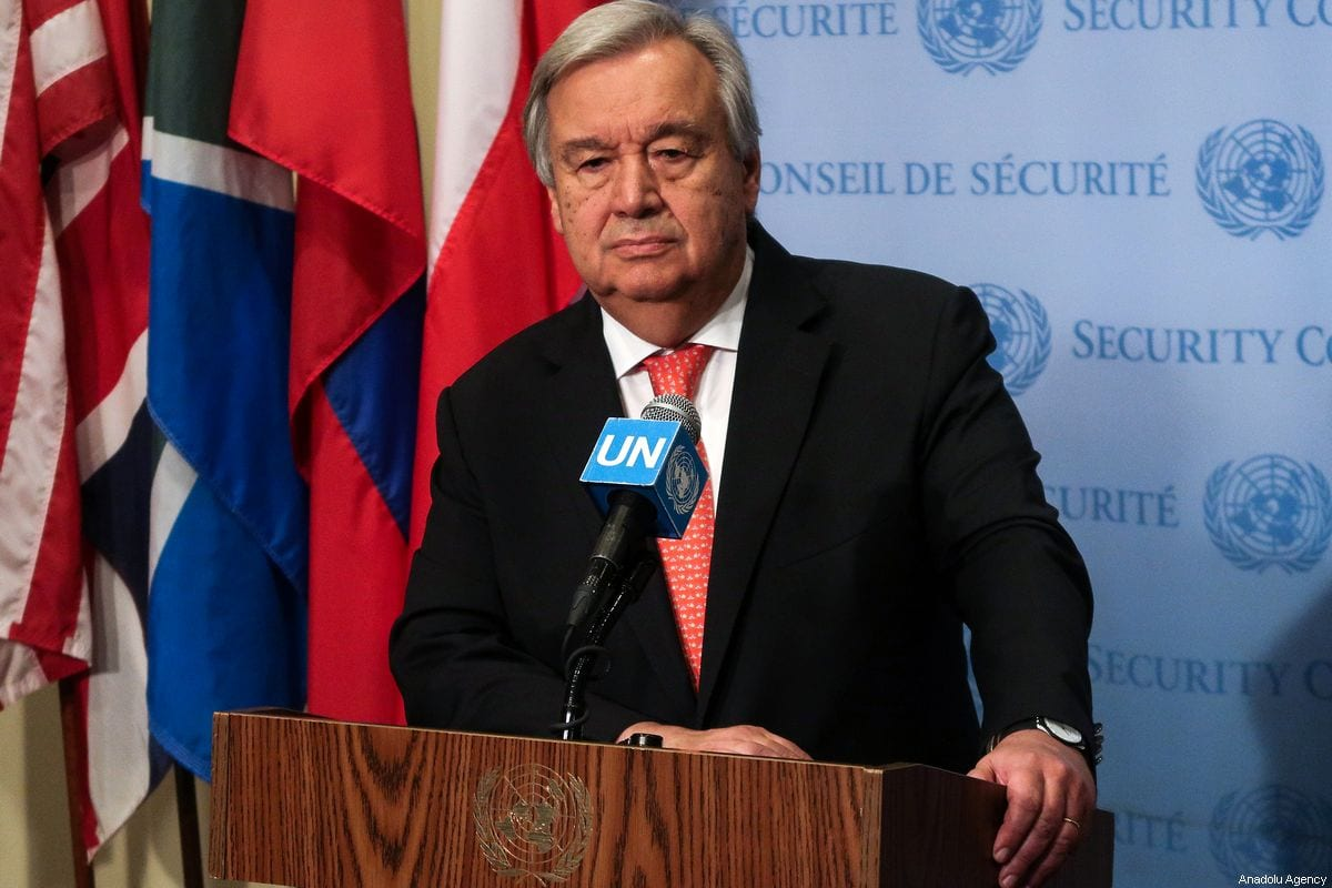 United Nations Secretary General Antonio Guterres holds a press conference at the United Nations Headquarters in New York, United States on August 01, 2019 [Atılgan Özdil - Anadolu Agency]