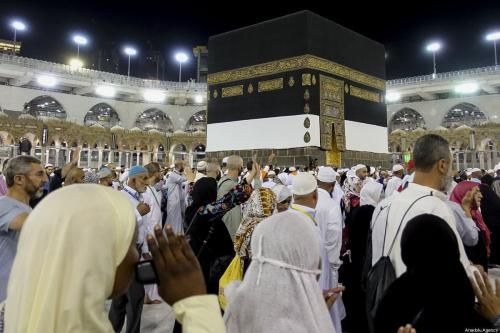 Muslim prospective Hajj pilgrims circumambulate the Kaaba at Masjid al-Haram in Mecca, Saudi Arabia on 2 August 2019. [Halil Sağırkaya - Anadolu Agency]