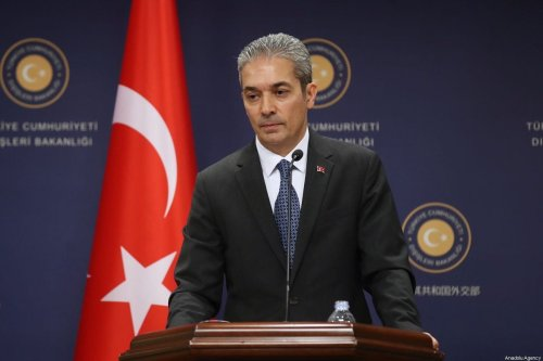 Turkish Foreign Ministry Spokesman Hami Aksoy holds a press conference at the ministry in Ankara, Turkey on August 02, 2019 [Fatih Aktaş/Anadolu Agency]