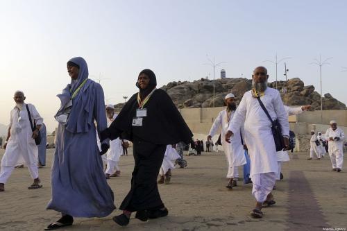 Muslim prospective pilgrims visit the Mount of Mercy (Jabal ar-Rahmah) in Mecca, Saudi Arabia on 3 August 2019. [Halil Sağırkaya - Anadolu Agency]
