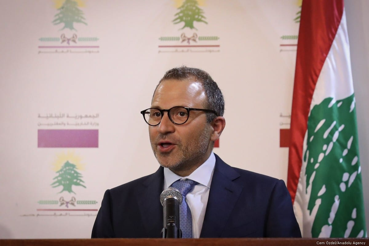 Minister of Foreign Affairs of Lebanon, Gebran Bassil in Beirut, Lebanon on 23 August 2019 [Cem Özdel/Anadolu Agency]