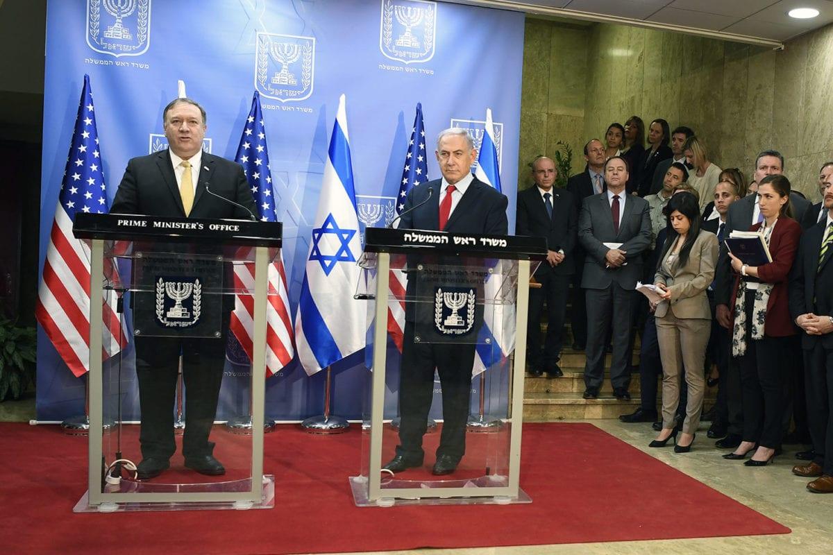 US Secretary of State Michael Pompeo and Israeli Prime Minister Benjamin Netanyahu seen during a press briefing at the Israeli Prime Minister's Office in Jerusalem on March 20, 2019 [Matty Stern/US Embassy Jerusalem]