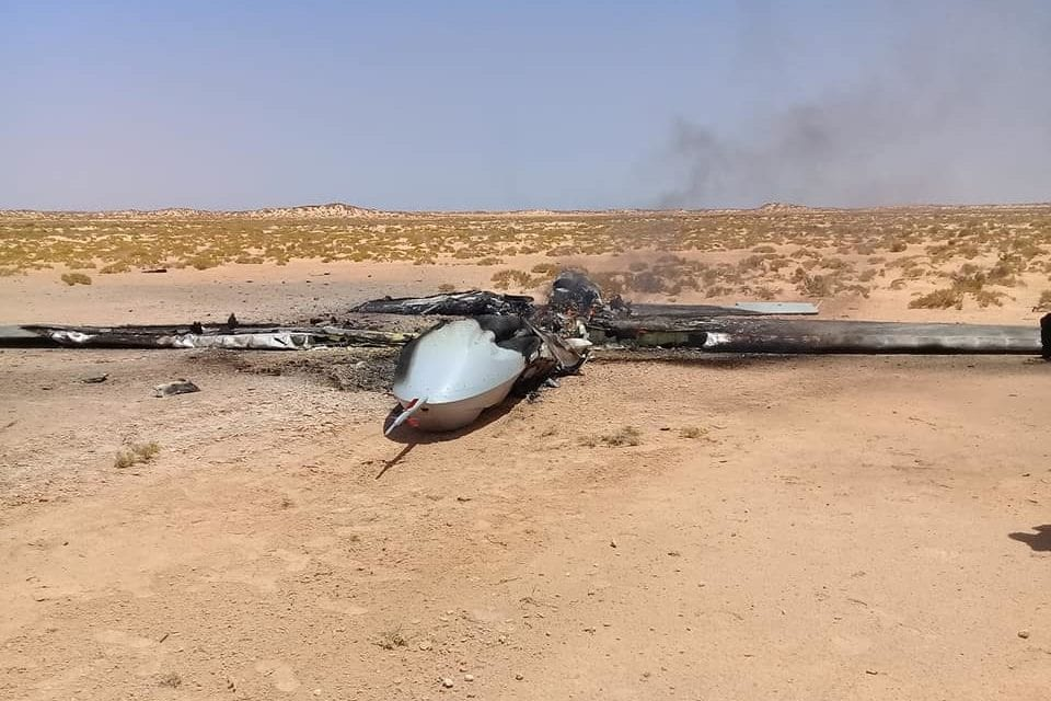A UAV operated by Khalifa Haftar's forces shot down by the GNA, seen on August 3, 2019 in Yemen [Burkan Alghadab Operation / Facebook]