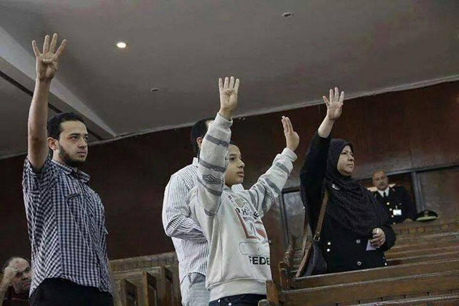 Mohamed Beltagi's wife Sanaa Abdelgawad and her two sons in court [Facebook]