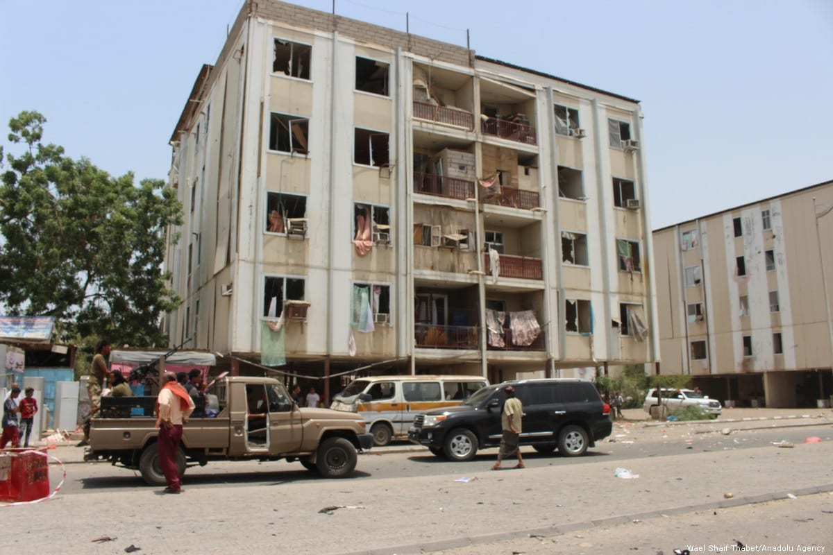 A damaged building is seen after a car bomb attack, which was happened as conscripts were gathering for morning assembly, to a police station in Aden, Yemen on 1 August 2019. [Wael Shaif Thabet - Anadolu Agency]