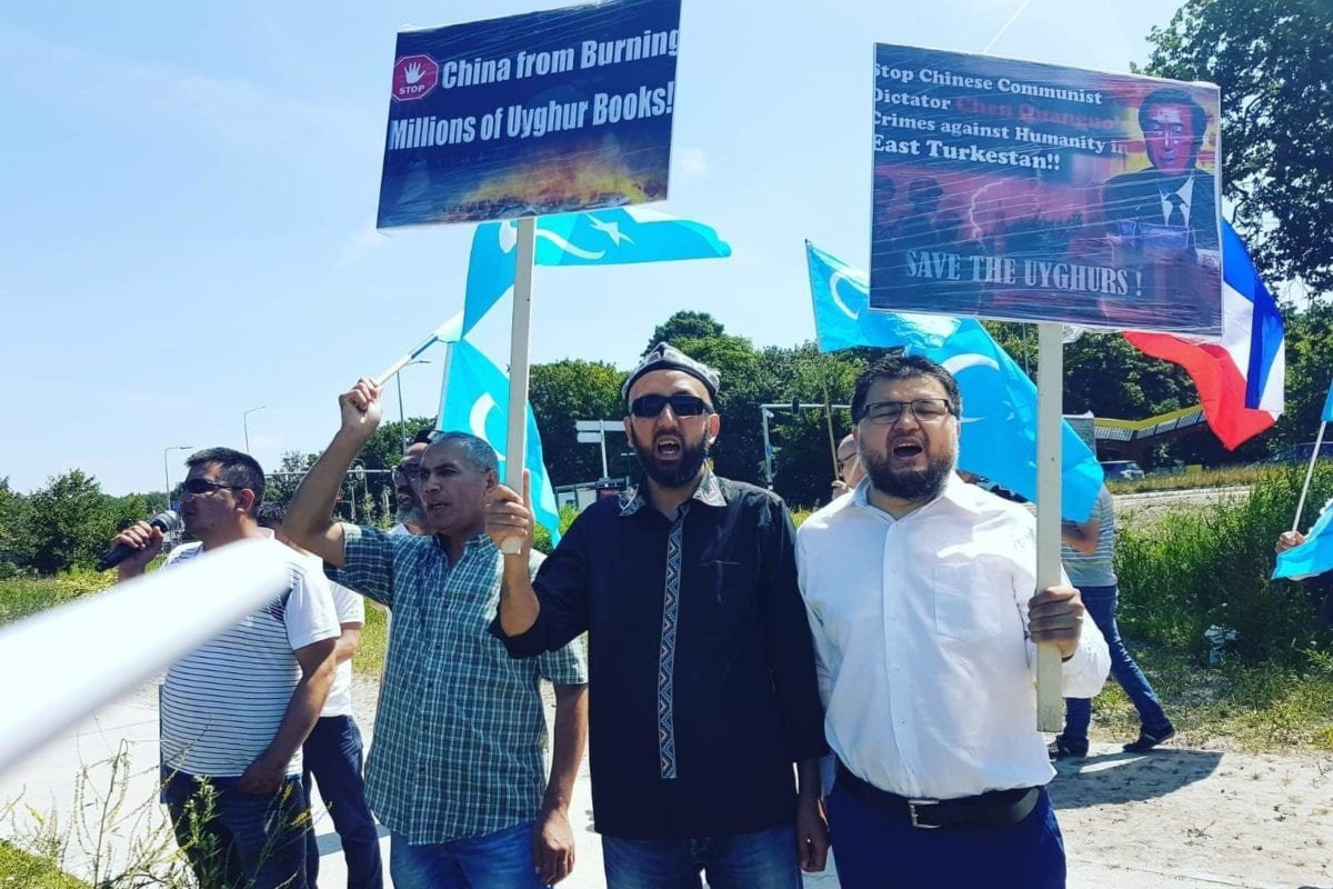 A protest calling on the EU to stop China's policies against the Uyghur in front of US embassy in Wassenaar, The Netherlands, in 2018.