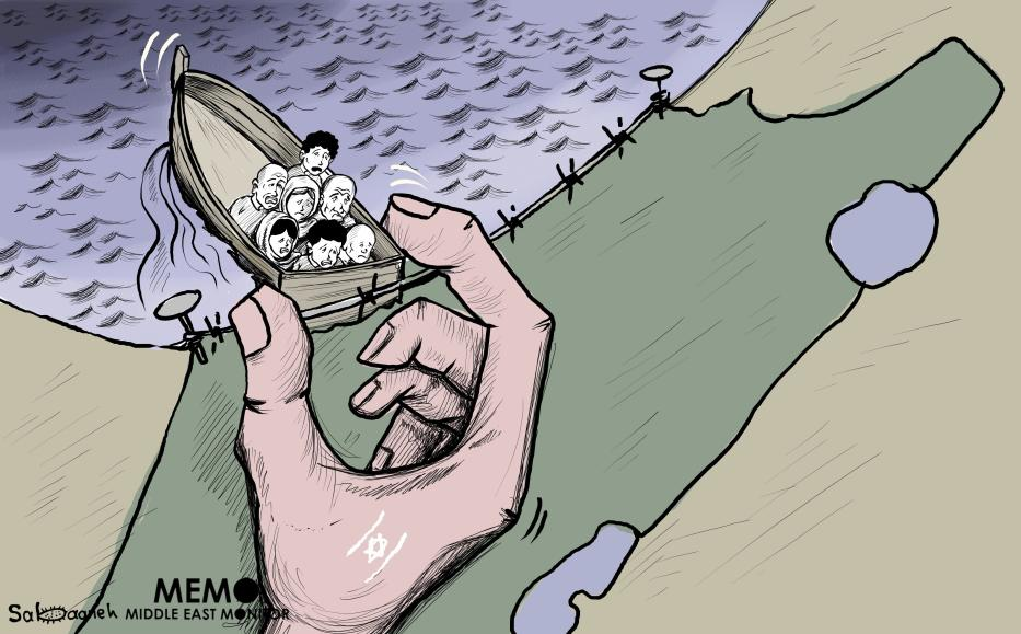 Israel is actively pushing Palestinians to leave the Gaza Strip - Cartoon [Sabaaneh/MiddleEastMonitor]