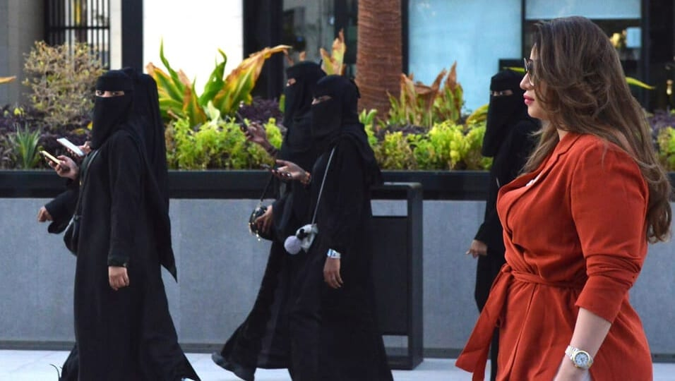 Mashael Al-Jaloud is seen without an abaya outside a Saudi mall