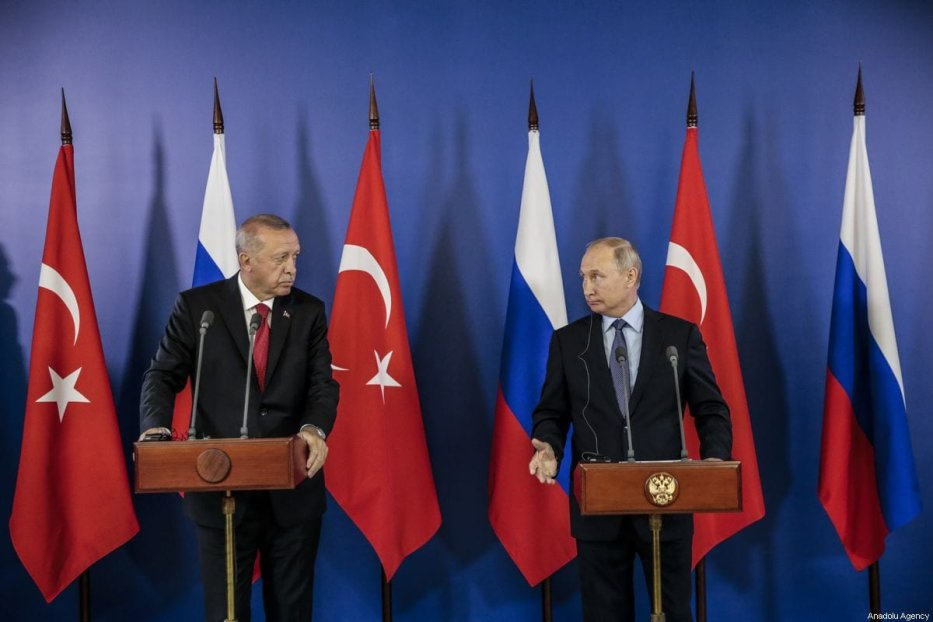 Turkish President Recep Tayyip Erdogan (L) and Russian President Vladimir Putin (R) in Moscow, Russia on 27 August 2019 [Metin Aktas/Anadolu Agency]