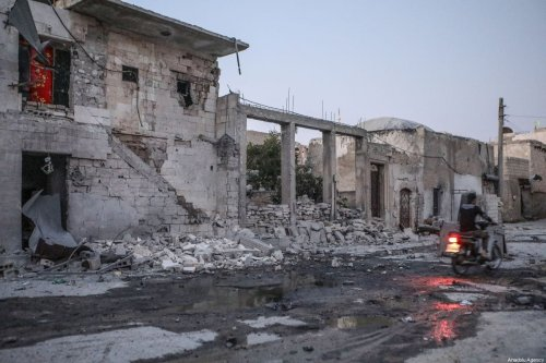Damaged buildings in a residential area after Assad Regime forces carried out airstrikes over Maarrat al-Nu'man district of Idlib, Syria on 28 August 2019. [Mouneb Taim - Anadolu Agency]