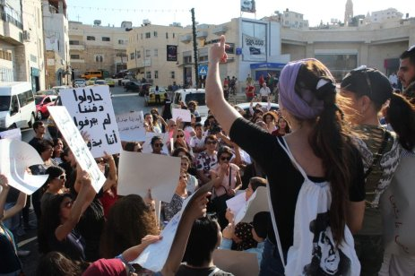 Palestinians protest for legal protection of women after killing of Israa Gharib in Bethlehem town of Beit Sahour on 31 August 2019