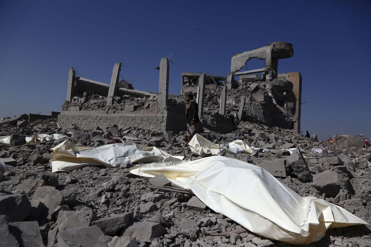 A destroyed prison, in which the Houths held prisoners, is seen after coalition forces led by Saudi Arabia carried out air strikes over Yemen on 1 September 2019 [Mohammed Hamoud/Anadolu Agency]