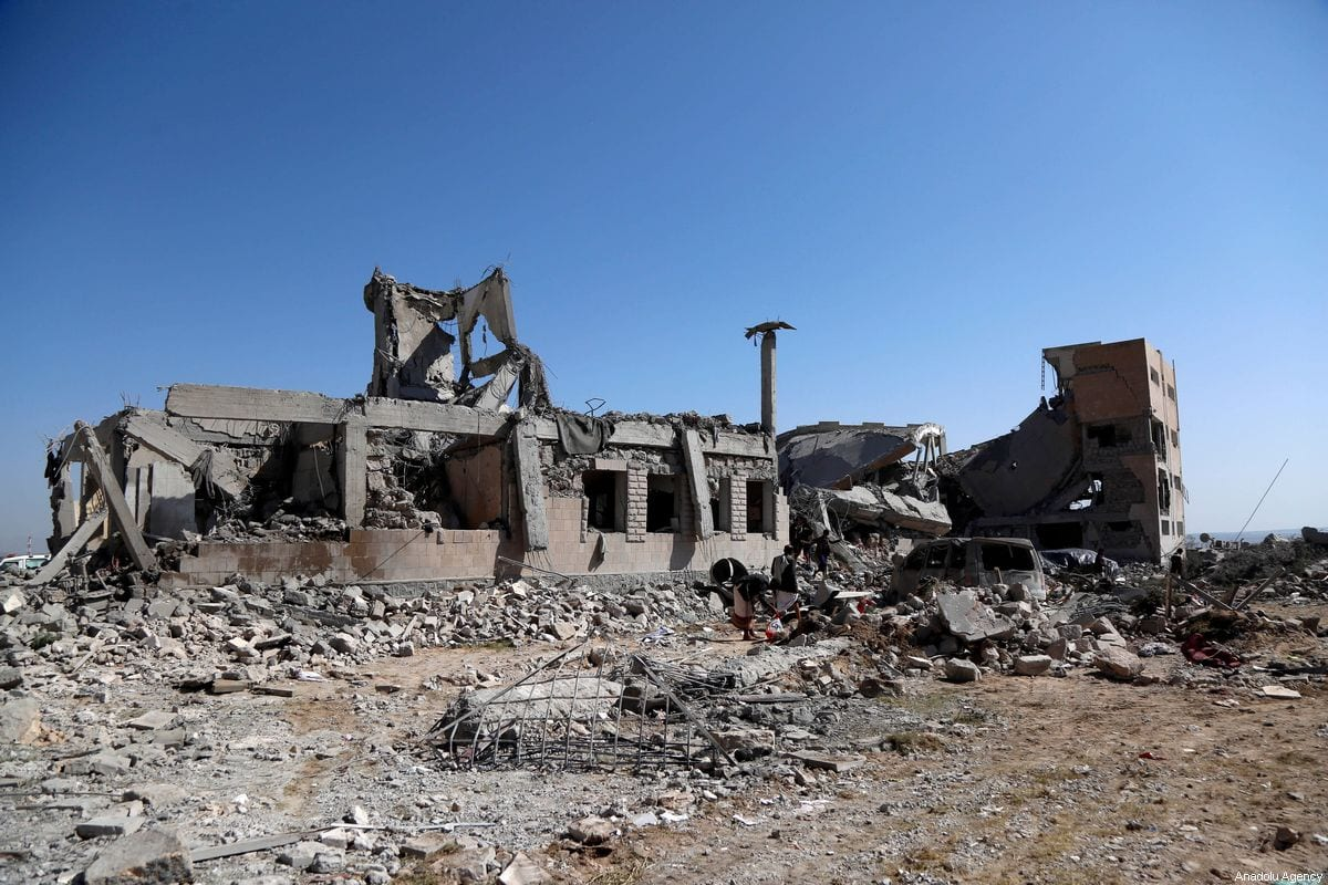 A destroyed prison, in which Houthi Ansarullah movement members held its prisoners, is seen after coalition forces led by Saudi Arabia organised an airstrike over it in Dhamar, Yemen on September 01, 2019 [Mohammed Hamoud / Anadolu Agency]