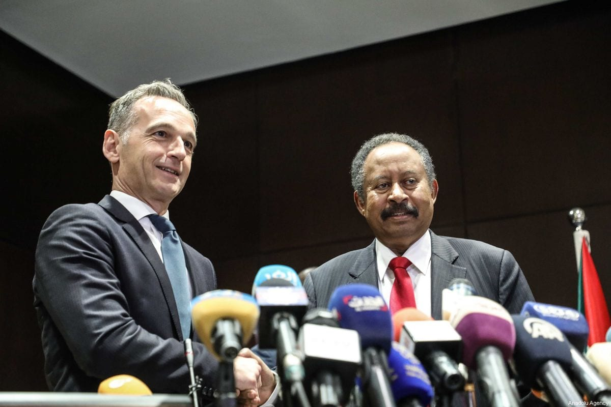 Prime minister of Sudan Abdalla Hamdok and German Foreign Minister Heiko Maas hold a press conference after their meeting in Khartoum, Sudan on 3 September 2019. [Mahmoud Hjaj - Anadolu Agency]