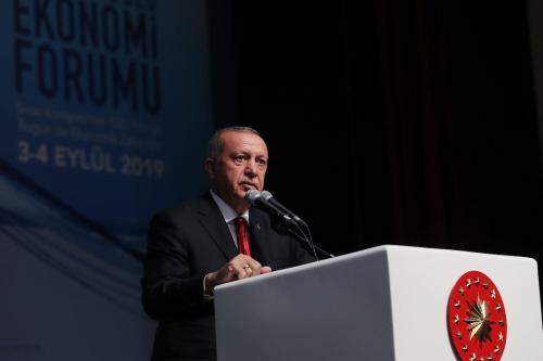 President of Turkey, Recep Tayyip Erdogan speaks at the Central Anatolia Economic Forum in Sivas, Turkey on 4 September 2019. [Murat Kula - Anadolu Agency]