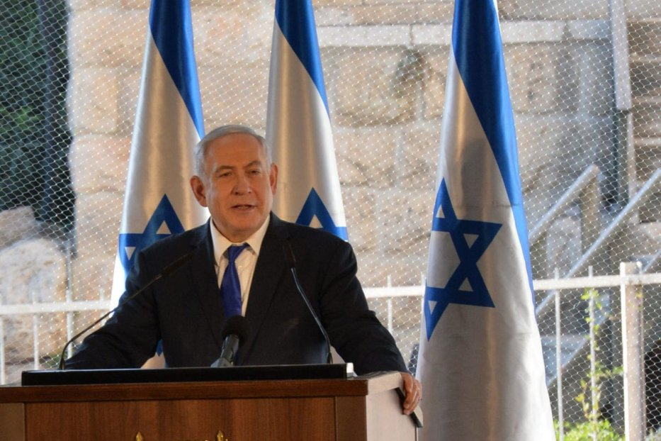 Israeli Prime Minister Benjamin Netanyahu (C) speaks during an event set to mark the 90th anniversary of a riot which took place in the city in 1929, during his visit to the Ibrahimi Mosque in the West Bank town of Hebron, on 4 September, 2019 [Kobi Gideon/GPO/Handout/Anadolu Agency]
