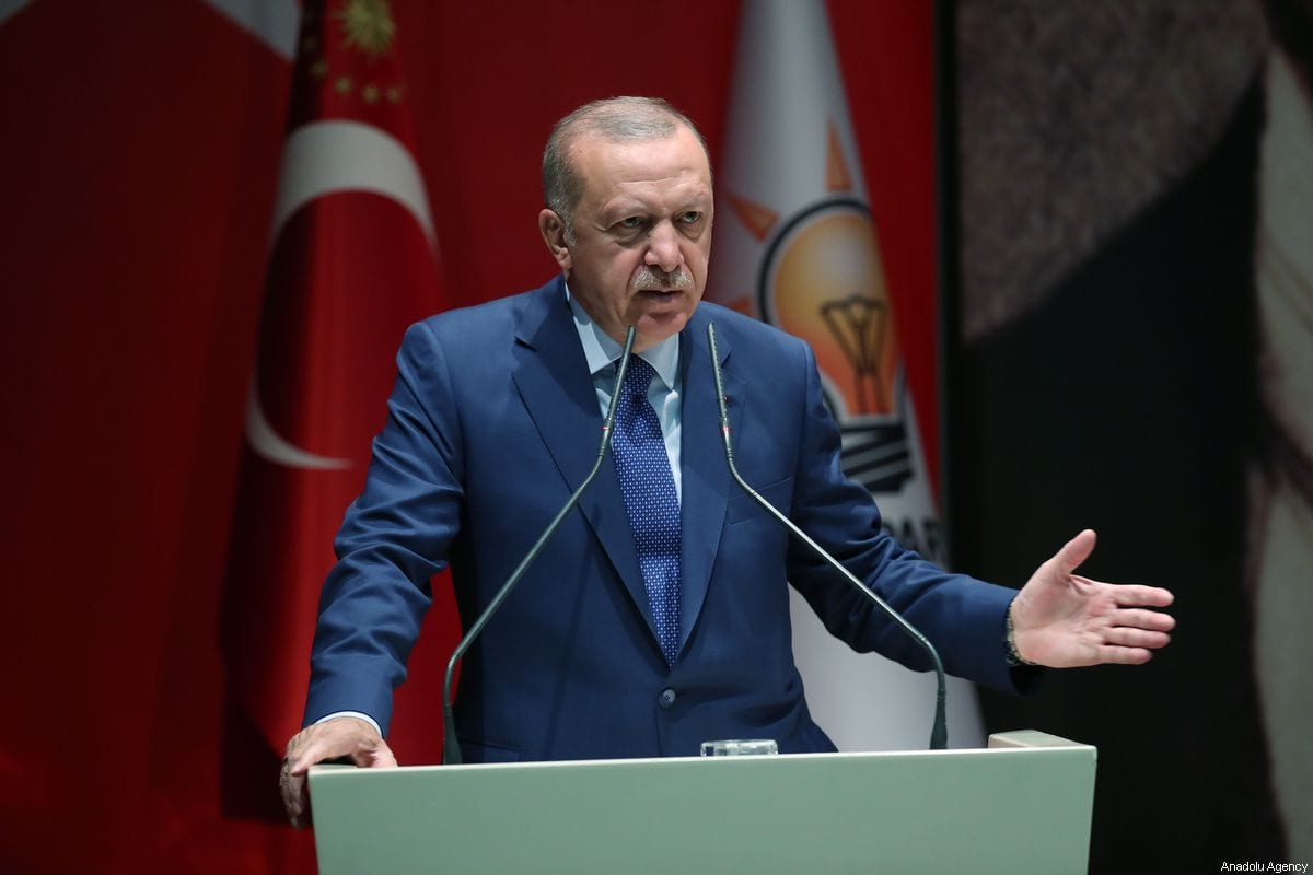 Turkish President and leader of Justice and Development (AK) Party Recep Tayyip Erdogan delivers a speech during AK Party's Extended Meeting of Provincial Heads at AK Party Headquarters in Ankara, Turkey on September 5, 2019 [Murat Kula / Anadolu Agency]
