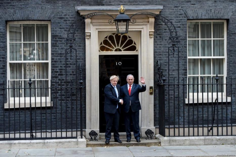 British Prime Minister Boris Johnson (L) and Benjamin Netanyahu at No. 10 Downing Street, in London, United Kingdom on 5 September 2019 [Kate Green/Anadolu Agency]