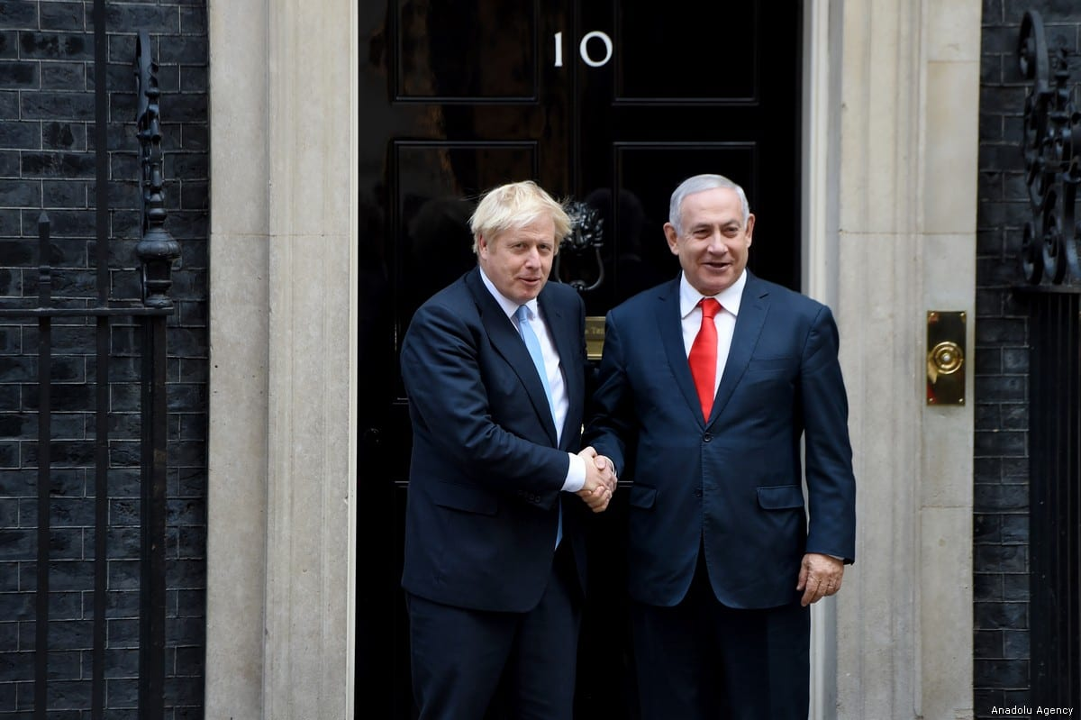 British Prime Minister Boris Johnson meets with Benjamin Netanyahu at No. 10 Downing Street, in London, United Kingdom on 5 September, 2019 [Kate Green/Anadolu Agency]