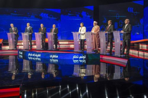 Candidates for the presidential election in Tunisia, Ennahdha Party's Abdelfattah Mourou (3rd R), Al-Irada's Moncef Marzouki (R), Alternative Party's Mehdi Jomaa (2nd L), Free Destourian Party's Abir Moussa (4th R), Democratic Current party Mohamed Abbou (2nd R), independent candidate Naci Cellul (3rd L), Tunisia Forward's Abid Briki (4th L) and independent candidate Omar Mansour (L) attend a discussion program ahead of the Presidential election in Tunisia, on 7 September 2019 in Tunis, Tunisia. [Yassine Gaidi - Anadolu Agency]
