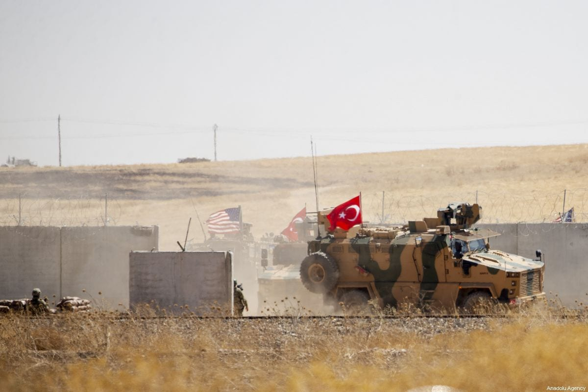 Armoured vehicles are seen as Turkey and the US start a joint ground patrols as part of efforts to establish safe zone east of Euphrates in Syria on 8 September 2019 [Emin Sansar/Anadolu Agency]