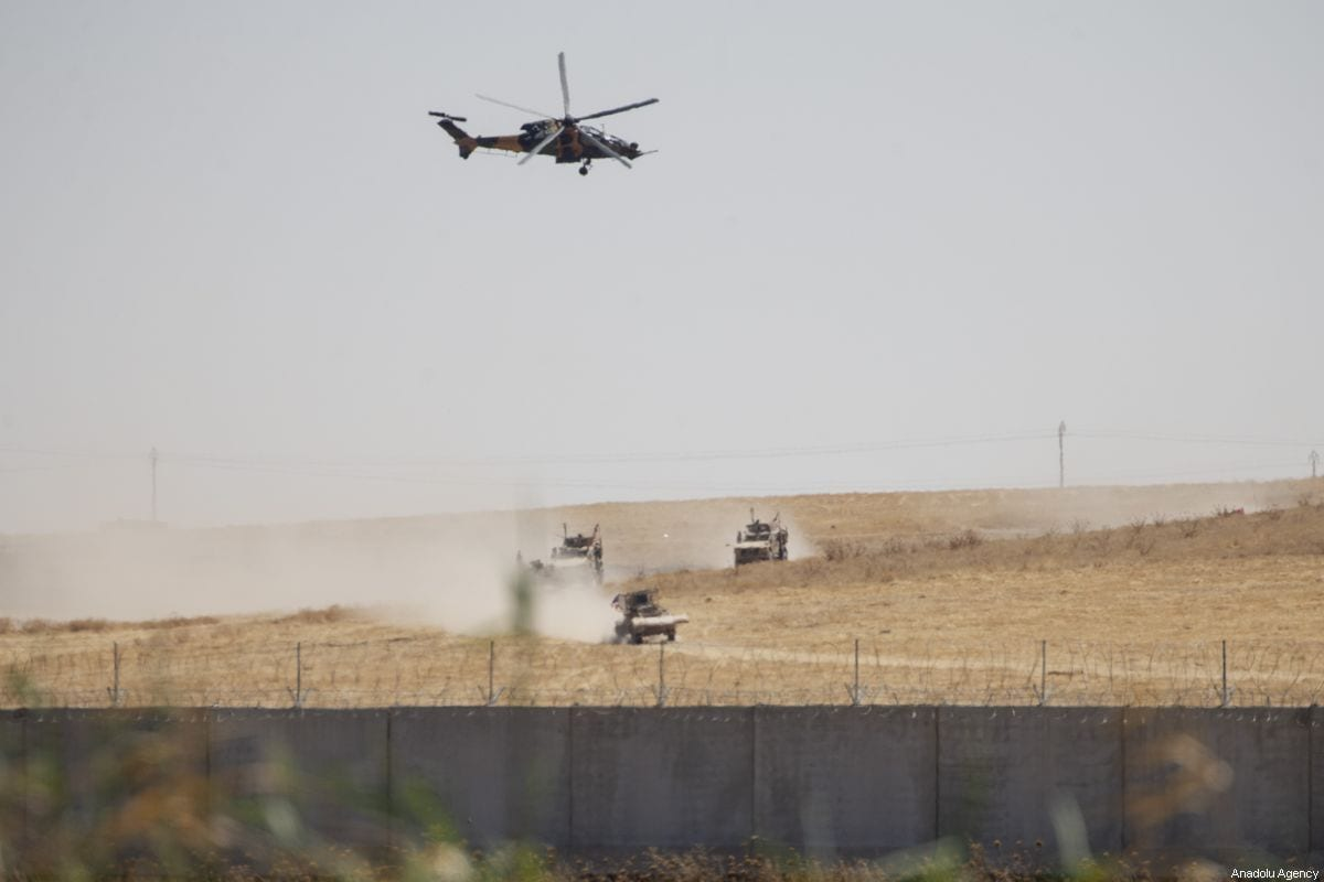 Sanliurfa province shows the armoured vehicles and helicopters as Turkey US start first joint ground patrols as part of efforts to establish safe zone east of Euphrates in Syria