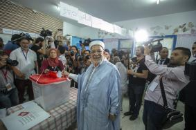 Presidential candidate Abdelfattah Mourou of Ennahdha party casts his vote at a polling station in the first round of presidential elections in Tunis, Tunisia on September 15, 2019. ( Yassine Gaidi - Anadolu Agency )