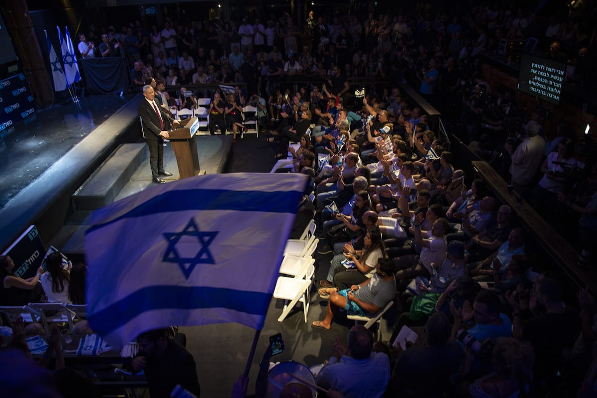Leader of the Blue and White political alliance, former chief of staff of the Israeli army, Benny Gantz in Tel Aviv on 15 September 2019 [Faiz Abu Rmeleh/Anadolu Agency]