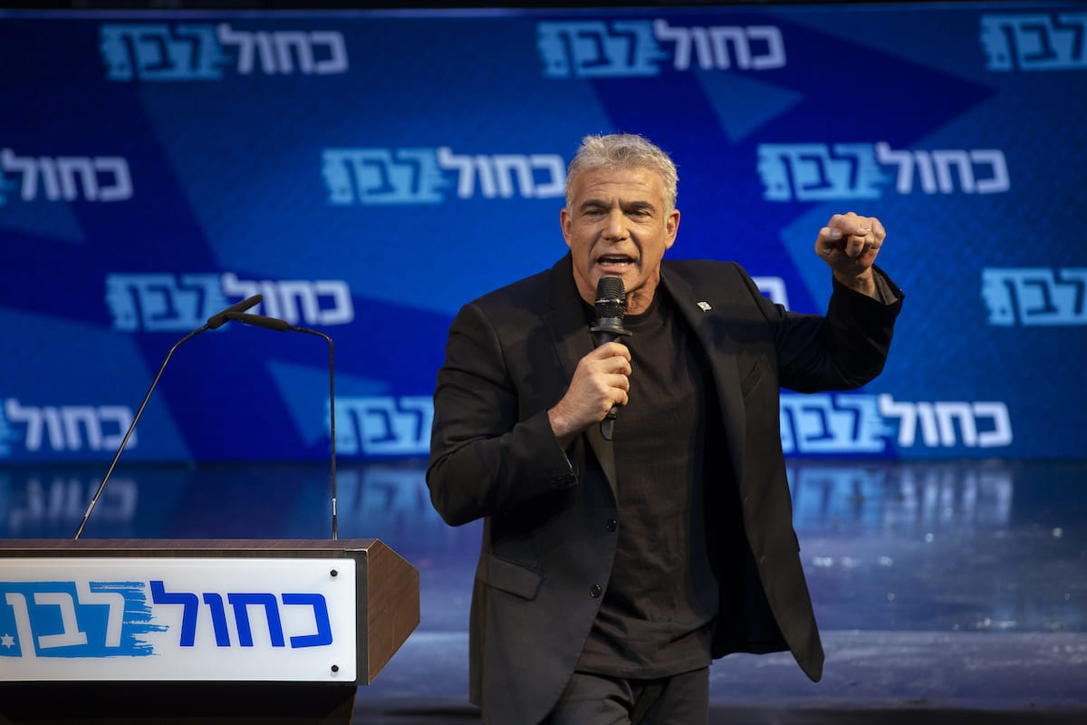 Yair Lapid during the final stage of Blue and White election campaign in Tel Aviv, Israel, 15 September 2019. [Faiz Abu Rmeleh - Anadolu Agency]
