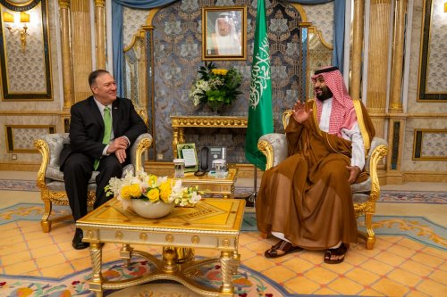 US Secretary of State Mike Pompeo (L) meets Crown Prince of Saudi Arabia Mohammad bin Salman Al Saud (R) in Jeddah, Saudi Arabia on 19 September 2019. [US DEPARTMENT OF STATE / HANDOUT - Anadolu Agency]