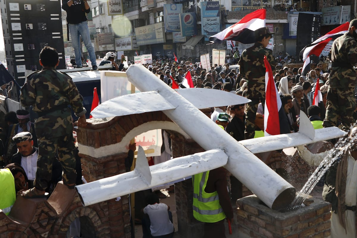 Model unmanned aerial vehicle exhibited at the event on the occasion of the fifth anniversary of Houthis' control of the Yemeni capital Sanaa, on September 21, 2019 [Mohammed Hamoud / Anadolu Agency]