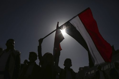 Supporters of Houthis participate in march on the occasion of the fifth anniversary of Houthis' control of the Yemeni capital Sanaa, on September 21, 2019. ( Mohammed Hamoud - Anadolu Agency )