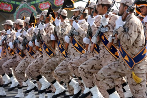 Military parade marking the 39th anniversary of the outset of the Iran-Iraq war, in front of the shrine of Ayatollah Khomeini, in Tehran, Iran, on 22 September 2019. [Fatemah Bahrami/Anadolu Agency]