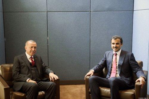 President of Turkey, Recep Tayyip Erdogan (L) meets Emir of Qatar, Sheikh Tamim bin Hamad al-Thani (R) within the 74th session of UN General Assembly in New York, United States on 24 September, 2019 [Murat Kula/Anadolu Agency]