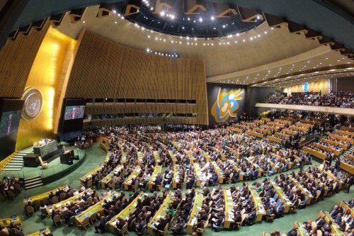 General view of the 74th session of UN General Assembly at UN Headquarters in New York, United States on September 24, 2019 [Erçin Top / Anadolu Agency]