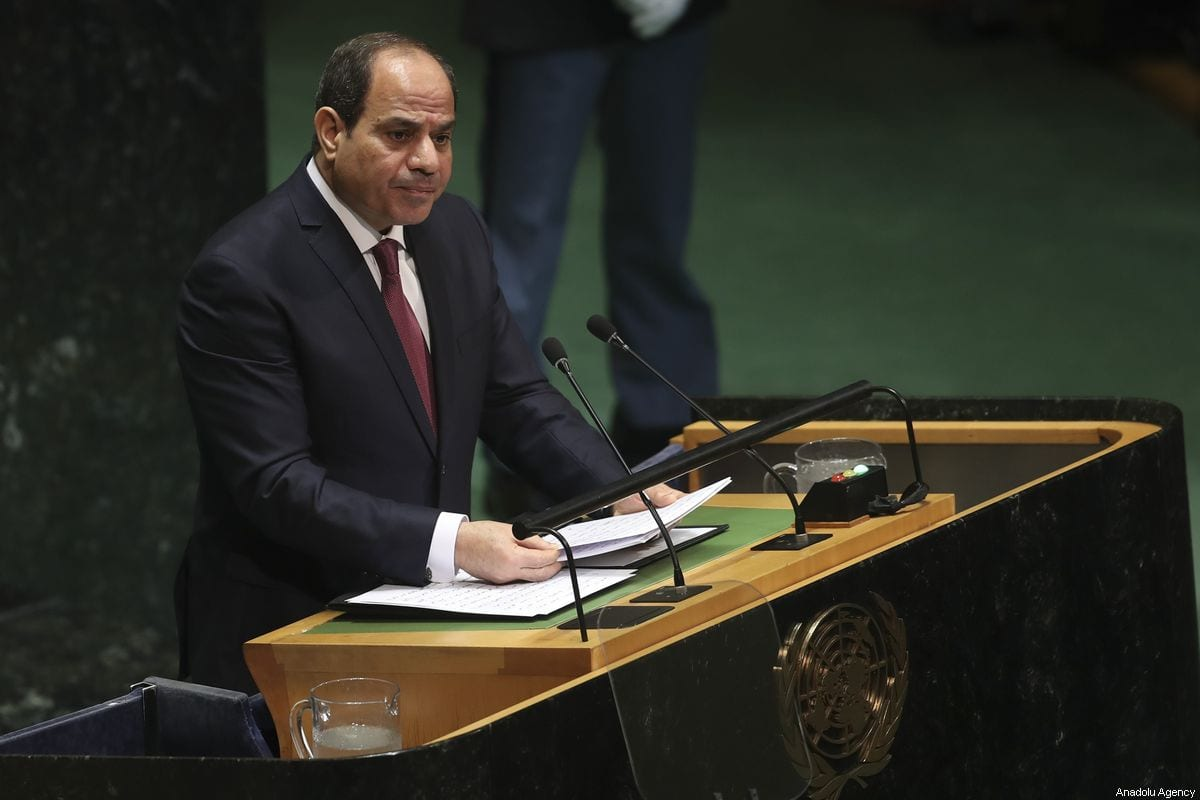 President of Egypt Abdel Fattah el-Sisi delivers a speech at the 74th session of UN General Assembly in New York, United States on 24 September 2019. [Erçin Top - Anadolu Agency]