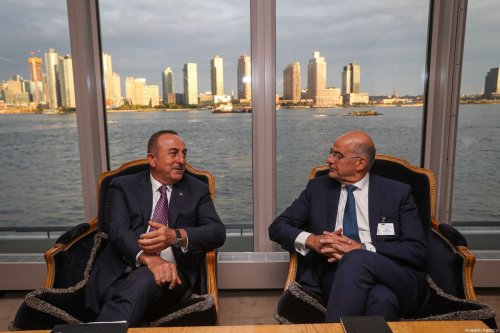 Turkish Foreign Minister Mevlut Cavusoglu (L) meets Foreign Minister of Greece Nikos Dendias (R) in New York, United States on 26 September 2019 [Cem Özdel/Anadolu Agency]