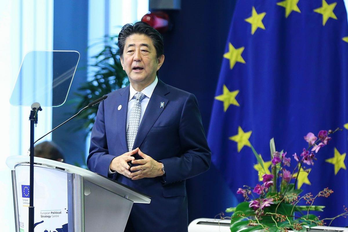 Japanese Prime Minister Shinzo Abe in Brussels, Belgium on 27 September 2019 [Dursun Aydemir/Anadolu Agency]