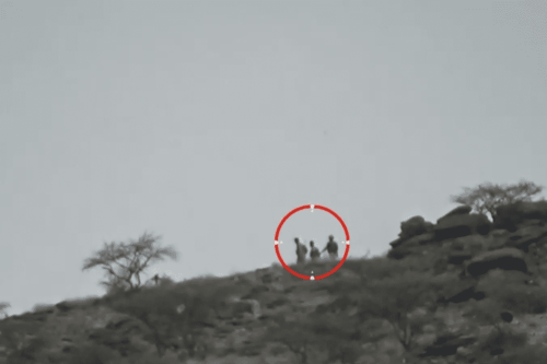 A still image taken from a video of the Houthi raid across the border in Saudi Arabia's Jizan region [Youtube]