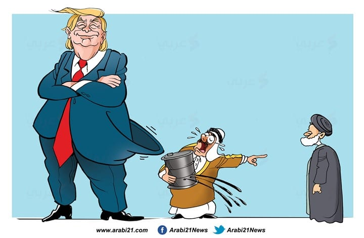 Trump says he does not want war after attack on Saudi oil facilities [Cartoon-Arabi21]