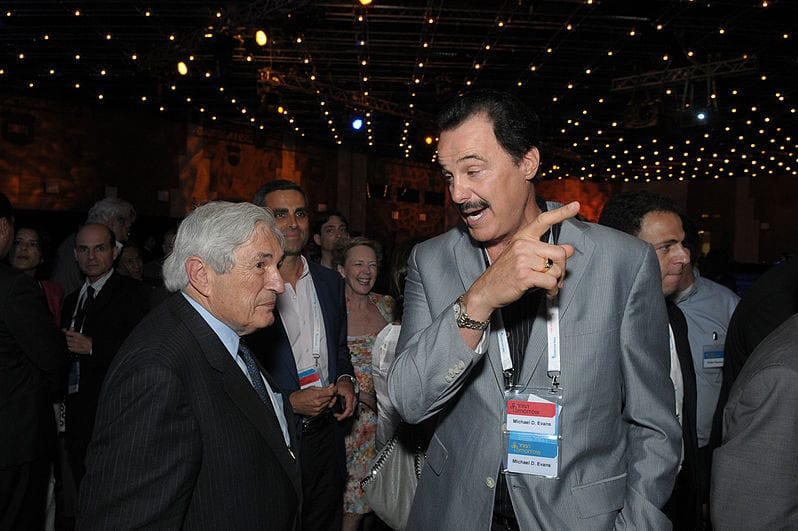 This picture of Dr. Mike Evans and Sir James David Wolfensohn, Former President of the World Bank was taken at the Menachem Begin Heritage Museum in June 2011 [Wikicommons]