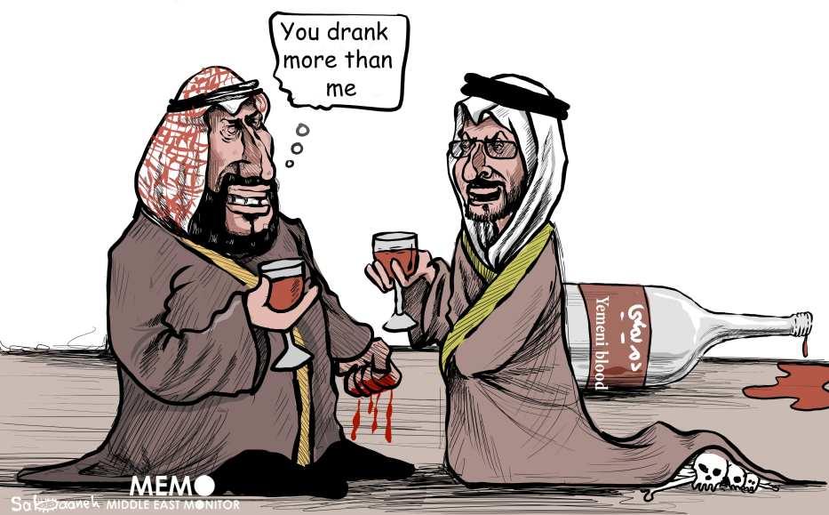 MBS and MBZ bloody Yemeni war - Cartoon [Sabaaneh/MiddleEastMonitor]