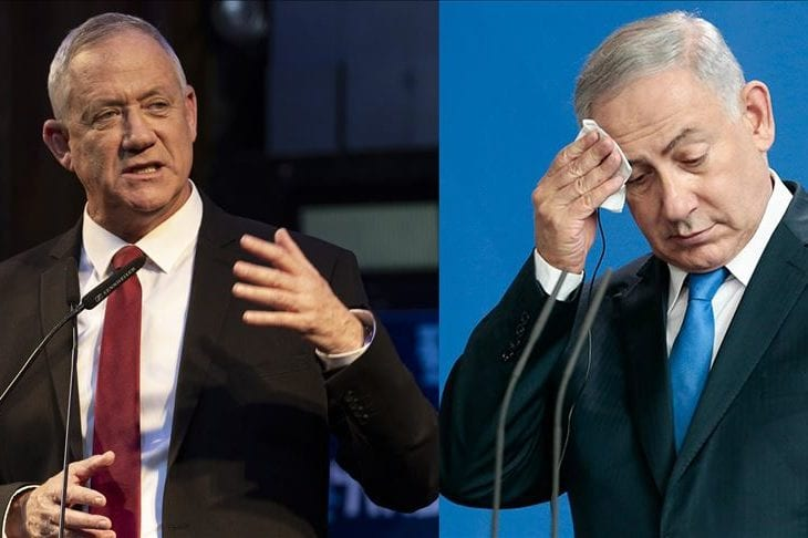 Leader of the Blue and White political alliance, former chief of staff of the Israeli army, Benny Gant (L) Israeli Prime Minister Benjamin Netanyahu (R) [Anadolu Agency]