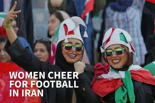 thumbnail - Women cheer for football in Iran