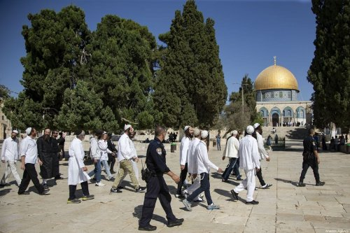 Fanatic Jews, under Israeli police protection, enter the atrium of Al-Aqsa Mosque Compound in East Jerusalem's Old City on 30 September 2019. [Faiz Abu Rmeleh - Anadolu Agency]