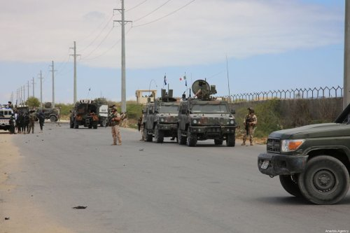A road is blocked after Al-Qaeda affiliated al-Shabaab militants stormed the Ballidogle American special forces military base roughly 100 kilometers northwest of Mogadishu using vehicle bombs followed by sporadic gunfire from fighters in Mogadishu, Somalia on 30 September 2019. [Sadak Mohamed - Anadolu Agency]