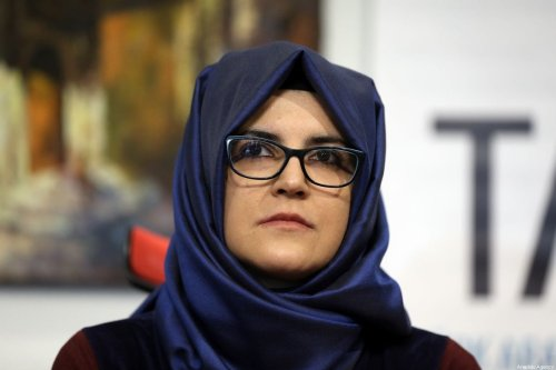 "Fiancee of murdered Saudi Arabian journalist Jamal Khashoggi Hatice Cengiz during the press conference on a book entitled ""Jamal Khashoggi: His Life, Struggles and Secrets"" [İslam Yakut/Anadolu Agency]"
