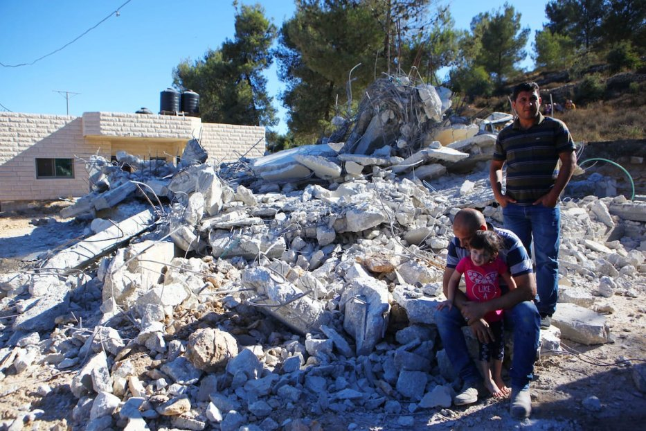 Palestinian Ali Mohammad al-Allami is seen after Israeli forces demolished his house which was under construction, with the claim of being unlicensed, at Beit Ummer district in Hebron, West Bank on 3 October 2019. [Mamoun Wazwaz - Anadolu Agency]