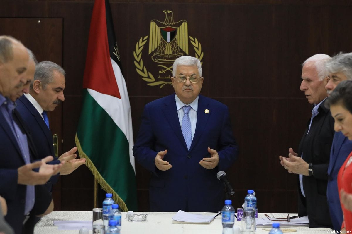 Palestinian President Mahmoud Abbas leads Palestine Liberation Organisation board meeting in Ramallah, West Bank on October 03, 2019 [İssam Rimawi / Anadolu Agency]
